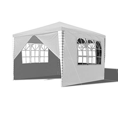Hengda Pavillon 3x3m Wasserdicht Gartenpavillon, Stabiles Partyzelt, UV-Schutz Festzelt mit 4 Seitenteilen für Markt Camping Hochzeiten Festival