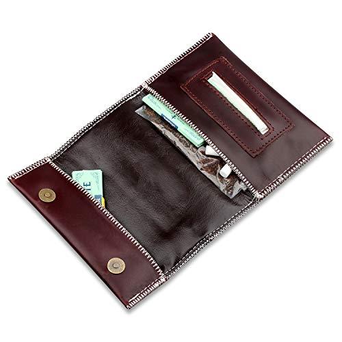Tabaksbeutel aus echtem Leder, mit Paper-Spender und Fach für Filter, Herren damen, braun