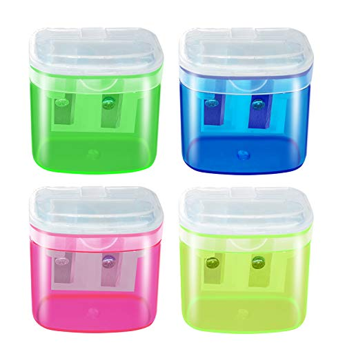 Manual Pencil Sharpeners, 4PCS Colorful Compact Dual Holes Sharpener with Lid for Kids & Adults, Portable Pencil Sharpener for Travel School Office and Art Room