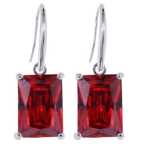 rojo Hook cuelga los pendientes Circonita cúbico Impecable Plata Yazi
