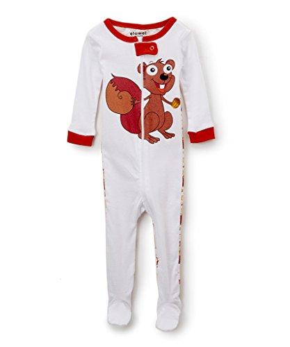 elowel | Pijamas De Niñas | Bebé, Pequeño, Chicas, Ropa De Dormir | 1 Pieza | Algodon | Tamaño: 18-24 Meses | Colro: Blanco | Diseño: Ardillas