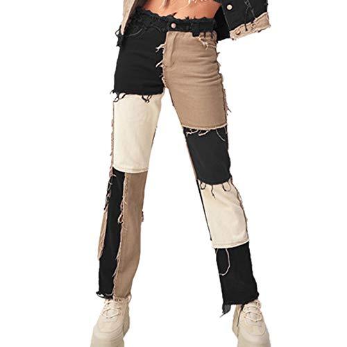 Pantalones Vaqueros Rectos Ajustados De Cintura Alta con Costura Abigarrada De Verano para Mujer