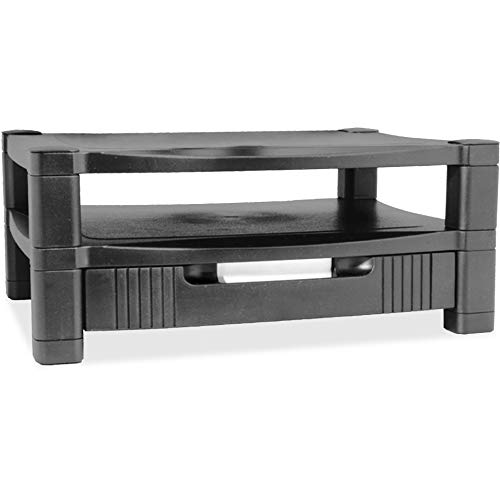 Kantek Two-Level Height-Adjustable Monitor/Laptop Stand with Removable Drawer, 17-Inch Wide x 13-Inch Deep x 3 to 7-Inch High, Black (MS480)