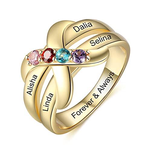 Jewelora 4 anillos personalizados con piedras natales simuladas para hombres y mujeres, anillo de compromiso de circonita cúbica 3A para niñas, regalo para madres, cumpleaños, aniversario (Oro, 6)