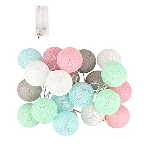 Allegorly Cotton Ball Lichterkette LED Kugeln Lichterkette Baumwollkugeln Lichterkette Außen Lampion Lichterkette Draussen Lichterkette Batteriebetrieben