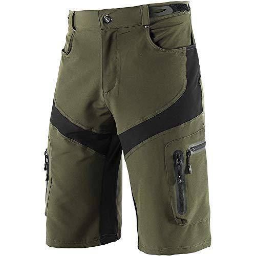 Sproou Pantalones Cortos De Ciclismo Hombres Transpirable para Ciclismo Correr MTB O Deportes Al Aire Libre con Bolsillos Suelto,Verde,XXL