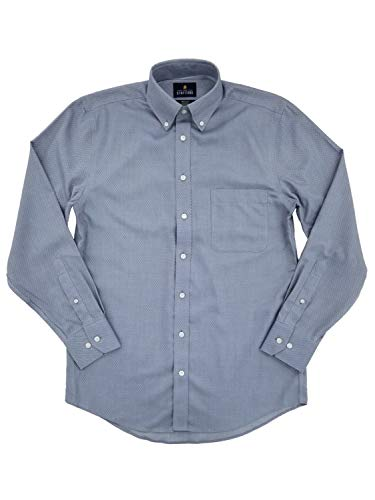 Mens Blue Diamond Texture Executive Pinpoint Oxford Button-Down Shirt 17 34-35