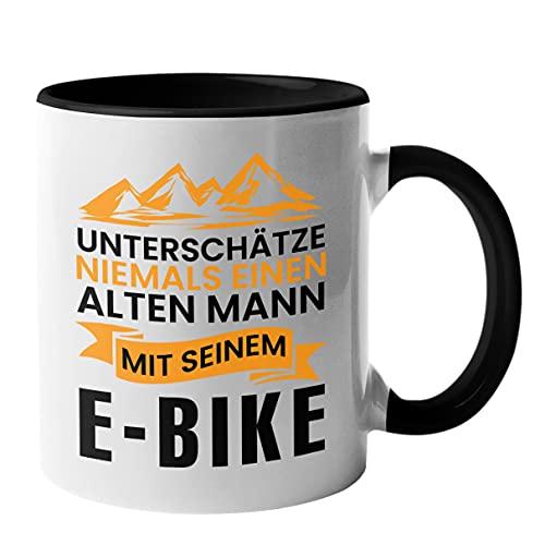 MANISMA Bürotasse E-Bike Spruch Für Männer   Kaffeetasse Elektro Fahrrad Spruch Geschenkidee   Lustige Tasse Den Opa Onkel oder Vater (Schwarz)