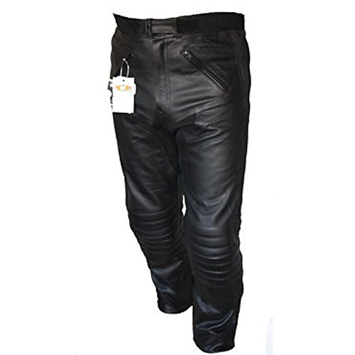 Bikers Gear UK Pantalón de Moto Sturgis de Cuero Reforzado Certificado CE Negro 44 Largo