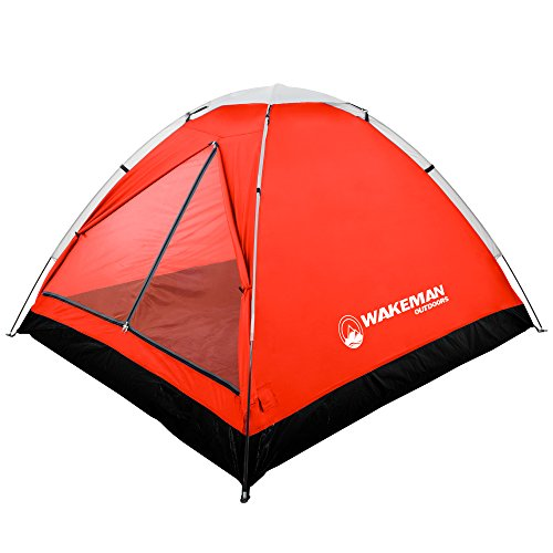 2-Person Tent, Water Resistant Dome Tent for Camping with Removable Rain Fly and Carry Bag, Lost River 2 Person Tent by Wakeman Outdoors (Red/Gray) (75-CMP1021)