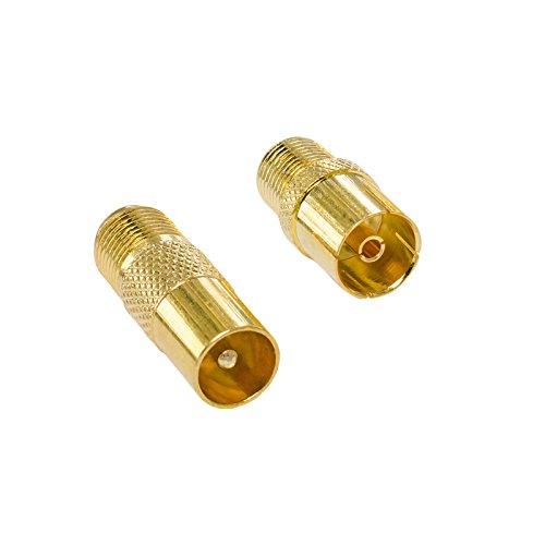 HB-Digital 2-Teiliges SAT Antennen Adapter Set - Antennen-Stecker (männlich) und Antennen-Buchse (weiblich) auf F-Buchse (SAT, weiblich) VERGOLDET