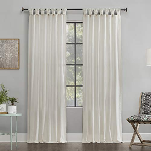 Archaeo Washed 100% Cotton Twist Tab Curtain, 52' x 95' Panel, Ivory