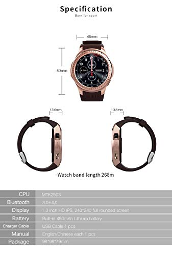 Microwear L1Professionale Sport Smart Watch Smartwatch MTK2503Quad Core 2G WiFi BT Call 0.2MP TF Card Android iOS (Nero)