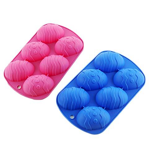 2er Set für 12 Mulden Ostereier Form Silikon Backform für DIY Schokolade Süßigkeiten Gebäck Muffin Seife Badebomb Eiswürfel (zufällige Farbe) 2 Stück.