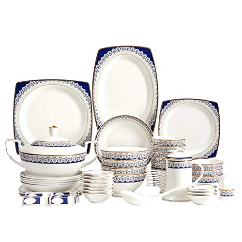 ASYCAN 60 Piezas de Hueso de China Azul y Blanco de vajilla nórdica Estilo y Lujo Diseñado vajilla del Servicio for 8 Personas más de 45% Harina de Huesos y del Hueso de China (Size : 60 pcs)