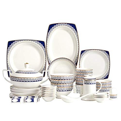 ASYCAN 60 Piezas de Hueso de China Azul y Blanco de vajilla nórdica Estilo Diseñado vajilla del Servicio for 8 Personas más de 45% Harina de Huesos y del Hueso de China (Size : 60 pcs)