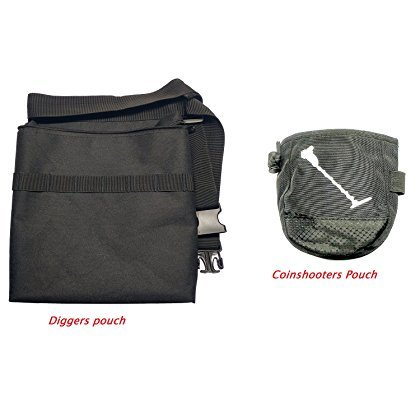"""Epic Gear Black Metal Detecting Diggers Pouch with Interior pocket - Adjustable to fit up to 48"""" Waist (Standard w Coin Pouch)"""