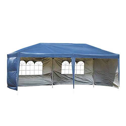 CharaVector 10 x 20 ft Heavy Duty Pop up Canopy Tent Gazebo for Outdoor Party Wedding Commercial Activity Pavilion BBQ Beach Car Shelter with 4 Removable Sidewalls