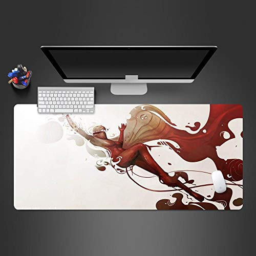 JIACHOZI 3mm Mouse pad Creative Abstract Beautiful Girl 1000×500×3mm Large Gaming Mouse Pad with Stitched Edges, Extended Mousepad with Superior Micro-Weave Cloth, Non-Slip Base, Keyboard Pad,