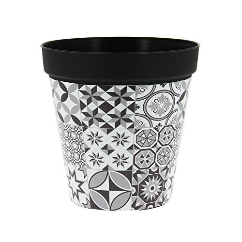My Note Deco 065759 Cache Pot rond pré-percé 20cm CARREAUX CIMENT en plastique recyclable, Noir, Diamètre 20 cm