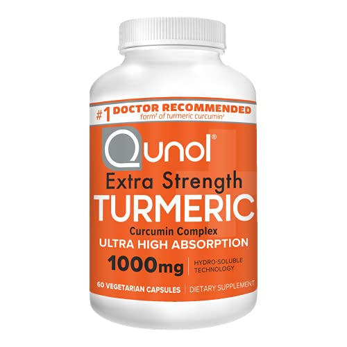 Turmeric Curcumin Capsules, Qunol with Ultra High Absorption 1000mg, Joint Support, Dietary Supplement, Extra Strength, 60 Vegetarian Capsules
