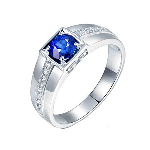 KnSam 18K White Gold Ring Square 4 Prong Round Cut Blue Sapphire 1.059ct VVS and 0.18ct Diamond Silver Ring Size Q 1/2