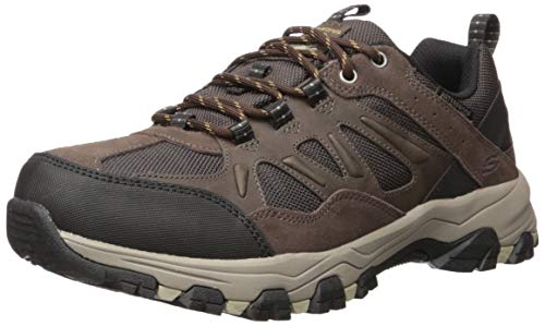 Skechers Men's SELMEN-ENAGO Trail Oxford Hiking Shoe, Chocolate, 11.5 Extra Wide US