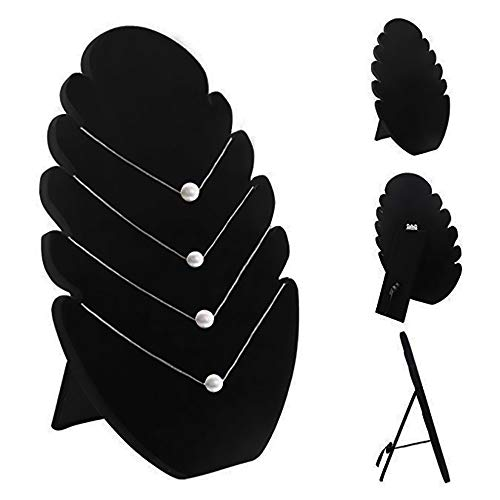 CAILI Expositor de Collares, Organizador Negro para Joyas, Expositor de Collares de Terciopelo Negro, Soporte para Colgar Collares con 5 Muescas para Mostrar los Collares/Colgantes/Pulsera