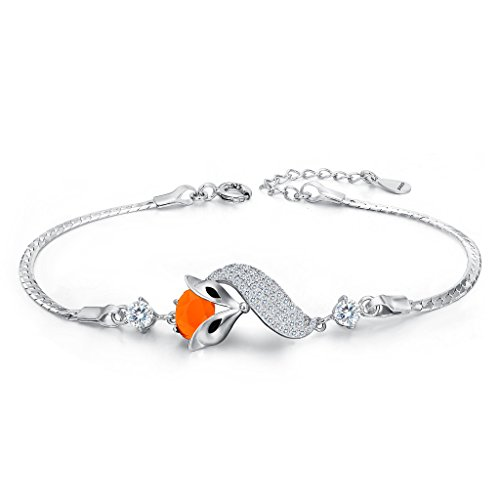 EleQueen 925 Sterling Silver Cubic Zirconia Lovely Fox Leaf Bracelet Chain Orange