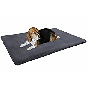 Dogbed4less Gel-Infused Large Memory Foam Fleece Pet Dog Bed Mat Pillow Topper with Waterproof Anti Slip Rubber Bottom – Fit 42″X28″ Crate, Grey
