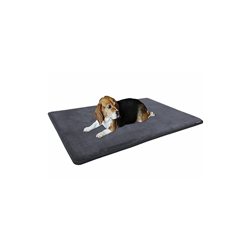 """dog supplies online dogbed4less gel-infused large memory foam fleece pet dog bed mat pillow topper with waterproof anti slip rubber bottom - fit 42""""x28"""" crate, grey"""