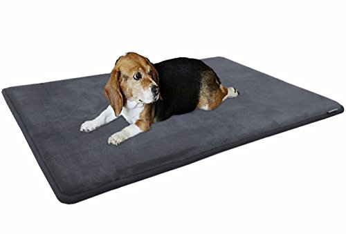 Dogbed4less Gel-Infused Large Memory Foam Fleece Pet Dog Bed Mat Pillow Topper with Waterproof Anti Slip Rubber Bottom - Fit 42'X28' Crate, Grey