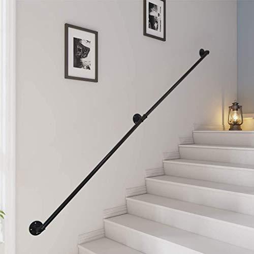 FS Metall-Handläufe für Außentreppen, wandmontiert, schwarzes mattes Schmiedeeisen, Geländerhandlauf für Innentreppen, Leitung direkt zur Treppentür, Haus oder Kellereingang (Größe: 300 cm)