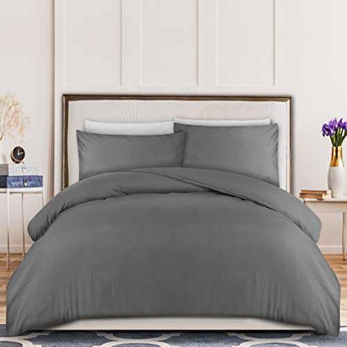 Utopia Bedding Duvet Cover Set - Brushed Microfibre Duvet Cover with 2 Pillowcases (Double, Grey)