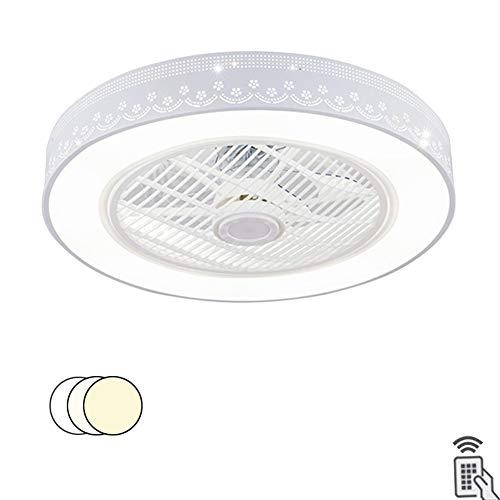 SXYYY Plafondventilator met ledlamp, 36 W, creatief, onzichtbaar, voor kinderkamer, ventilator – met afstandsbediening, woonkamer, moderne slaapkamer, plafondlamp, wit, 3 stijlen