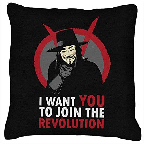 Sli8zhen I Want You To Join The Revolution V For Vendetta - Cojín (45,7 x 45,7 cm)