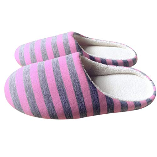 Funnyrunstore Inverno Caldo Morbido Peluche Pantofole da casa per Interno Scarpe da Donna/Uomo Stoffa a Strisce Amanti da Coppia Universale Pantofole Antiscivolo (Colore: Rosa; Misura: 38/39)