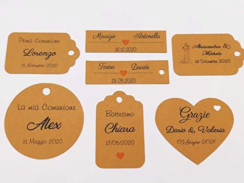 ArtigianeriA - Set di 20 (o più) ETICHETTE KRAFT personalizzate per BOMBONIERE fai da te. Ideali per Battesimo, Prima Comunione, Cresima, Matrimonio, Laurea, Compleanno, Anniversario.