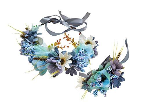 Flower Wreath Crown Boho Flower Headband Hair Garland Floral Headpiece Halo with Wrist Wedding Party Festival Photos Blue by Vivivalue
