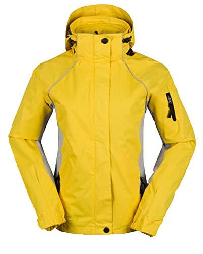 PengGengA Frauen Unisex DREI In Einem Und Zwei Sätzen Covert Jacket Snowboardjacke Mit Kapuze Gelb L
