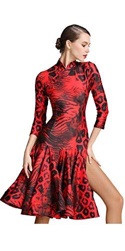 【STARREED R】社交ダンス ドレス ラテンドレス ダンスウエア スリットスカート 競技 デモ ダンス衣装 ワンピース (赤, S)