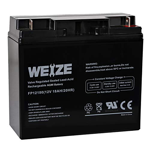 Weize 12V 18AH Battery Sealed Lead Acid Rechargeable SLA AGM Batteries Replaces UB12180 FM12180...