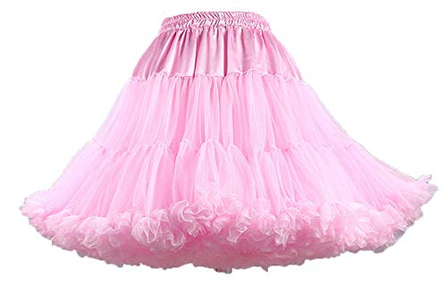 ShineGown Women Tutu Costume Ballet Multi-layer Puffy Skirt Lussuoso Soft Tulle sottoveste (Rosa, Donne)