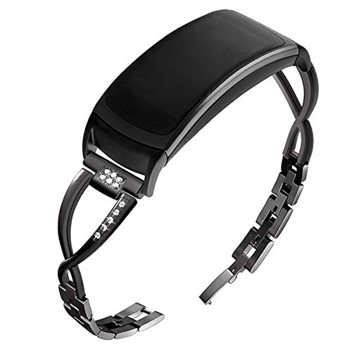 OenFoto Compatible with Gear Fit2 Pro/Fit2 Band, Replacement Alloy Metal Accessories Strap Samsung Gear Fit2 Pro SM-R365/Gear Fit2 SM-R360 Smartwatch- New Metal Black