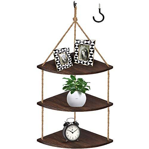 Estantería de esquina colgante de 3 niveles de yute de madera flotante estantes rústicos organizadores de almacenamiento para decoración del hogar, sala de estar, dormitorio, baño