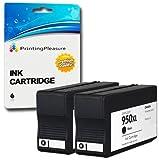 Printing Pleasure 2 Negro Cartuchos de Tinta compatibles para HP Officejet Pro 8600, 8600+, 8100, 8610, 8620, 8630, 8640, 8660, 251dw, 276dw | Reemplazo para HP 950XL CN045AN