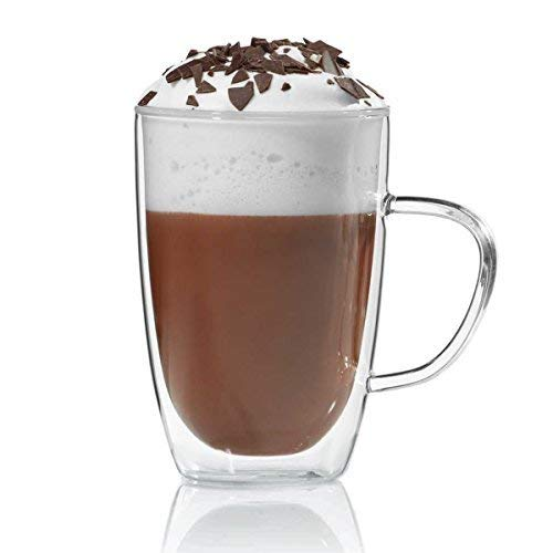 Dimono Doppelwandige Tasse 300ml Teetasse Thermotasse Kaffeetasse Glastasse mundgeblasen