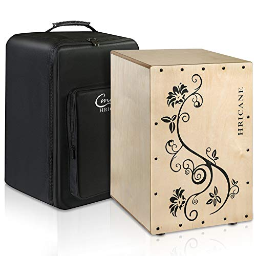 Hricane Full Size Cajon Box Drum With Flower Design On Surface, Birch Wood Percussion Box Internal Guitar Strings with Carry Backpack