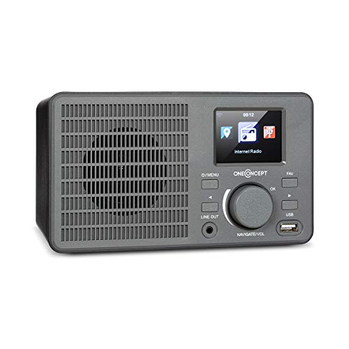 oneConcept TuneUp - Internetradio, WLAN-Schnittstelle, Leistung: 5 Watt, App-Control mit AirMusic App, Line-Ausgang, 2,4