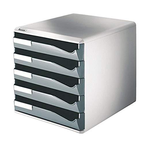 Leitz Post-Set mit 5 Schubladen, Schubladenset zur Aufbewahrung von Dokumenten und Büromaterialien, Grau, 52800089